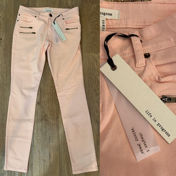 life in progress Denim - NWT Blush Pink Peach Skinny Jeans Women's Sz 27